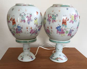 Chinese Antique Early Republic Jar Lamps - A Pair