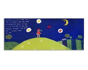 Twinkle Twinkle Little Star Canvas / Nursery Art / Original Nursery Rhyme Painting