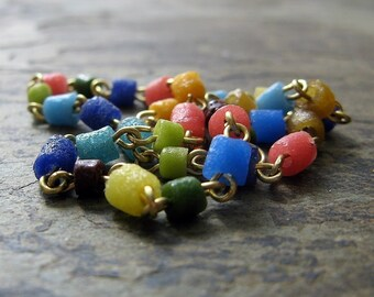 maja beaded anklet-- colorful recycled glass anklet-- handmade by thebeadedlily