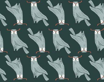 Folkwood Owls in Emerald  748 - FOLKWOOD by Rae Ritchie - Dear Stella Design Fabric - By the Yard
