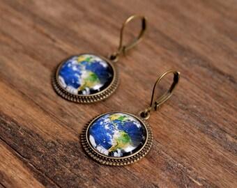 Planet Earth earrings, dangle earrings, glass dome earrings, antique brass earrings, antique bronze earrings, blue earrings, Earth earrings