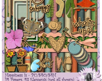 Happiness Is digital scrapbooking kit, so happy, happy day, dragonfly, friends forever, pink, orange, yellow, green, blue, teal, brown