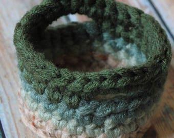 PATTERN Ombre Mini Handled Baskets | Advanced Beginner Crochet Pattern | Highball Cozy | Ice Cream Coozy | Crochet Basket with Handles