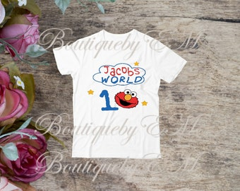 Elmo Birthday Sesame Street inspired T-shirt, MORE CHARACTERS AVAILABLE!