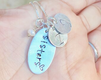 Mother's Day Gift, Sisters Necklace, Sisters, Custom Hand Stamped Necklace, Initial Necklace, Sterling Silver Necklace, natashaaloha