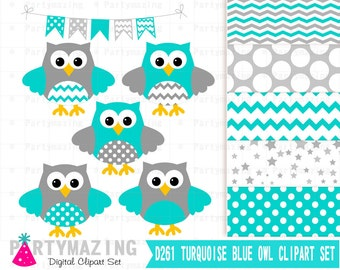 Owl ClipArt,Turquoise and Gray Clip Art Set and Digital Paper Set- Cute Owl Clipart set, Polka dot and Chevron D261