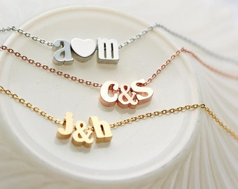 Lowercase Initials Necklace - Rose Gold Silver Initial Charm Tiny Ampersand Personalized Bridesmaid Gift Bridal Custom Wedding Gift for Her