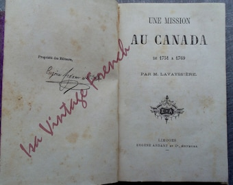 rare old book a mission to Canada Lavayssière circa 1880 Indians of North America Mission to Canada