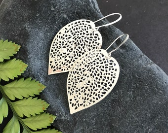 Silver Leaf Dangle Earrings - Super Light Weight Boho Earrings - Gift Under 20 - Fast Shipping