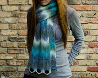 Scarf Knitting Pattern - Fingering Weight Chevron Striped Scarf Cowl - Gazania Scarf