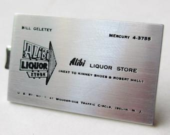 Liquor store card etsy vintage alibi liquor store iselin new jersey advertising promo tie clip bar reheart Images