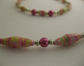 Tropical Pink Orange Green Paper Beaded Necklace & Bracelet COLORFUL 2pc Jewelry Set w/Hand-Rolled Glossy Beads, Funky Colored Glass Pearls
