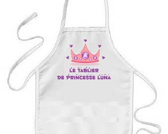 """PERSONALIZED apron of cooking child """"the Princess apron"""""""