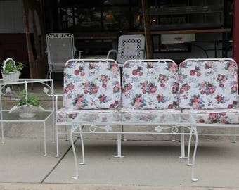 Mid Century Sectional Sofa, Coffee Table, 2 Tier Side Table Patio Set, Pick Up Only