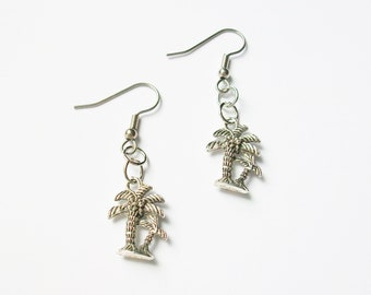 Palm Tree Earrings - Silver Palm Tree Earrings - Summer Earrings