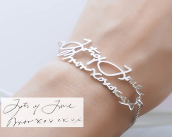 Signature Bracelet in Sterling Silver • Handwriting Keepsake Bracelet • Personalized Gift • Grandma Gift • MOTHER'S GIFT • BH01