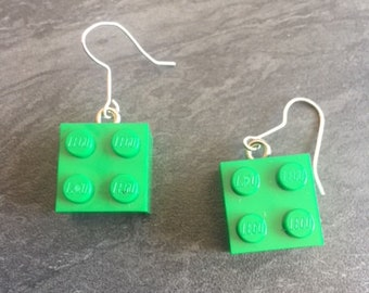 pair of green lego earrings