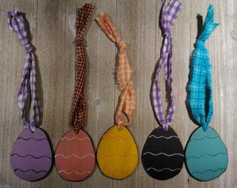 Sale Primitive Easter Egg Ornament Multi Color handmade in West Virginia Appalachian Mountains