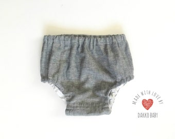 Gray linen newborn bloomers, newborn diaper cover, baby boy bloomers, gray diaper cover, coming home outfit for boy  - made to order