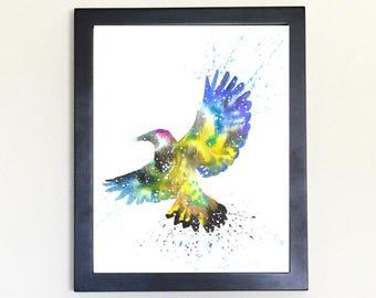 Flicker Woodpecker Galaxy Spirit Animal Watercolor Art Print 8x10