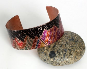 Etched & Colored Copper Wasatch Mountains Geologic Cross Section Cuff Bracelet