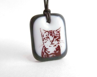 Cat Lover Gift / kitten lover gift / tabby cat pendant necklace / cat face necklace / tabby cat jewelry / cute cat jewelry / pet lover gift