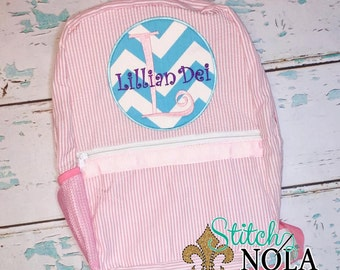 Seersucker Backpack with Circle Patch, Seersucker Diaper Bag, Seersucker School Bag, Seersucker Bag, Diaper Bag, School Bag, Book Bag, Backp