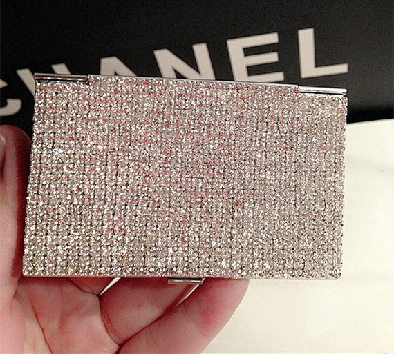 Silver rhinestone business card holder sparkly glitter women colourmoves