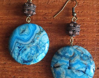 Bohemian Turquoise Crazy Lace Agate Bronze Earrings