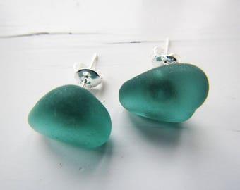 Small Teal Sea Glass Stud Earrings, Teal Genuine Sea Glass Stud Earrings, Beach Glass Post Earrings, Summer Jewelry