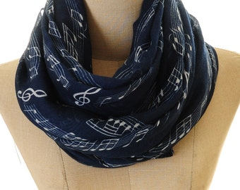 Music Note Scarf | Navy Music Scarf | Music Note Infinity Scarf | Piano Scarf | Musician Gift | Pianist Scarf | Music Lover S-105
