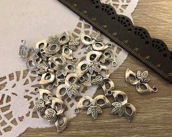 Lot 18 Pendants Venetian mask Silver color-Venice Mask Silver Charms