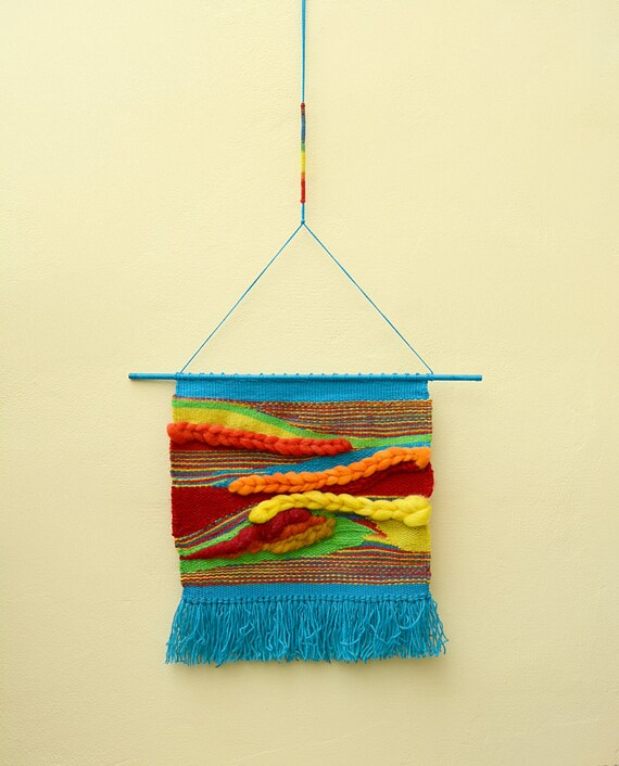 Rainbow Woven Wall Hanging Natural Wool Wall Hanging Unique