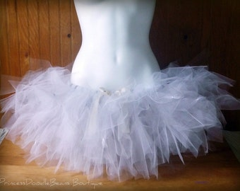 White Rabbit Trashy Tutu - Teen or Adult - SEWN and super FULL - multi-layered with tulle and netting