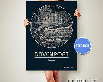 DAVENPORT Iowa CANVAS Map Davenport Iowa Poster City Map Davenport Iowa Art Print Davenport Iowa poster Davenport Iowa map