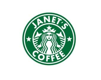 Personalized Starbucks Sticker, Custom Starbucks Cup Decal, Yeti Cup Decal, Starbucks logo, Yeti Cup Sticker, Starbucks Mug Sticker