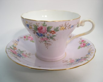 1930's Aynsley Tea Cup And Saucer, Lavender Tea cup and Saucer, Aynsley Floral Teacup and Saucer.
