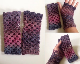 Purple, Pink, Blue and Grey Wool Crochet Fingerless Gloves
