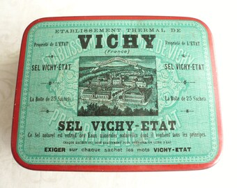 Vintage French Vichy Salt Tin, Vintage French Medicine Tin, Vintage French Health Salts Tin, Vintage French Apothecary Tin.