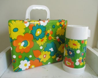 Vintage 1960s 1970s Flower Power Vinyl Lunch Box and Thermos - Mod, Groovy Retro - Orange, Yellow, Lime Green - Alladin Lunch Box Thermos