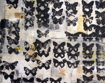 Shadow Of My Former Shadow II - Butterflies Moths Photo Transfer 30 x 30 Inches