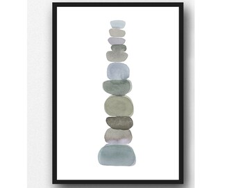 Pebble art print, Modern minimalist watercolor painting grey watercolor print, grey pebbles, zen painting