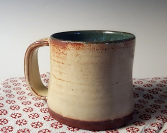 Handthrown Diner Mug in Latte and Turquoise