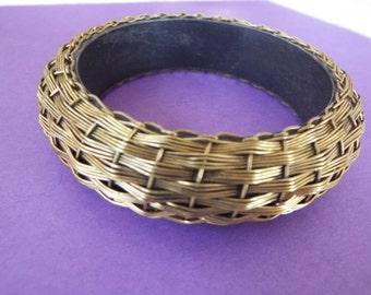 brass basket weave bangle bracelet