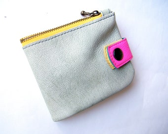 Unisex Leather wallet Organizer wallet purse Credit card case Soft leather purse wallet Coin pouch zipper Credit card wallet Gift girl