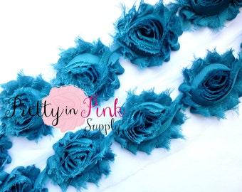 TEAL  Shabby Rose Trim - Shabby Chiffon Rosettes - 1/2 Yard or 1 Yard - Shabby Flower Trim - Wholesale Shabby Flower - Chiffon Flower