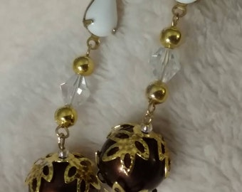 Coffee Pearls Dangle Earrings, Filigree Bead Caps, Romantic, Connectors, Plated Ear Wires