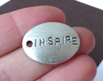 """8 """"INSPIRE"""" Charms 18.5x25x2.5mm"""