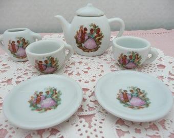 Miniature China Tea Set, Fragonard Design Tea Set, Doll Tea Set, Teddy Bear Tea Set