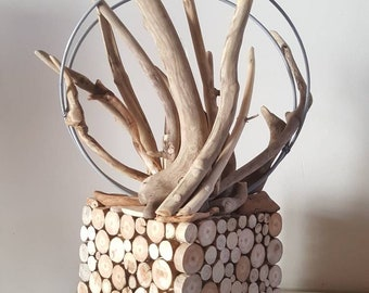 Lampe en bois flottélampe art décolampe a poserbois flotté